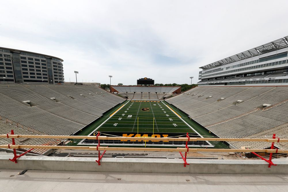 The mid-field view from the lower premium seating area of the third deck in the new north end zone Wednesday, June 6, 2018 at Kinnick Stadium. (Brian Ray/hawkeyesports.com)