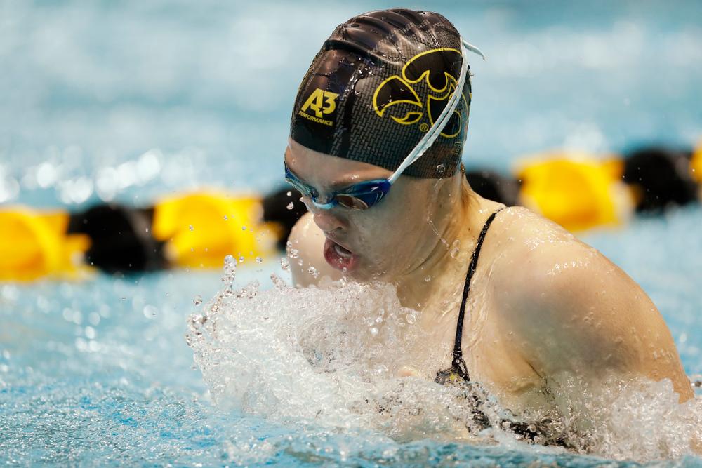 Iowa's Lexi Horner swims the 100 yard breaststroke