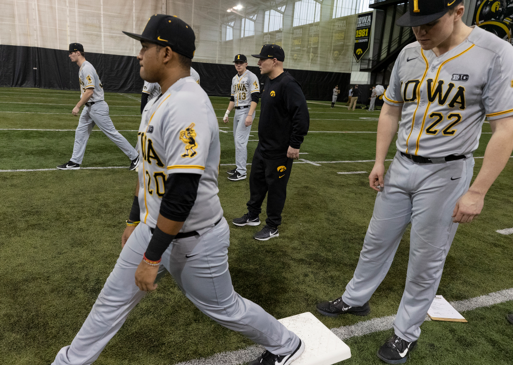 Iowa Hawkeyes assistant coach Robin Lund during practice Tuesday, February 5, 2019 in the Indoor Practice Facility. (Brian Ray/hawkeyesports.com)