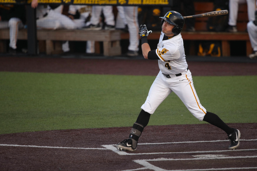 Iowa infielder Mitchell Boe  at game 1 vs Rutgers on Friday, April 5, 2019 at Duane Banks Field. (Lily Smith/hawkeyesports.com)