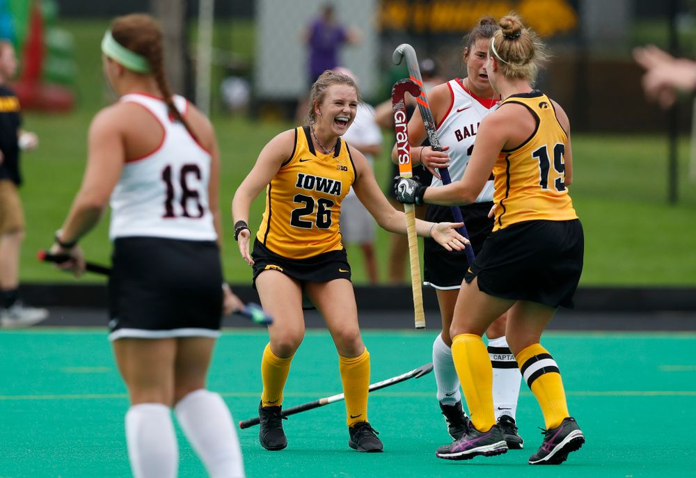 Iowa Hawkeyes Maddy Murphy (26) and Ryley Miller (19) against Ball State Sunday, September 2, 2018 at Grant Field. (Brian Ray/hawkeyesports.com)