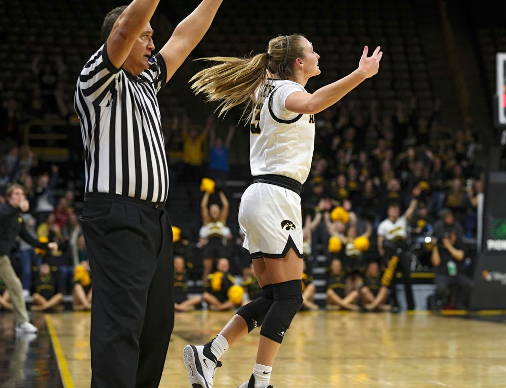 Iowa Hawkeyes guard Makenzie Meyer (3) celebrates after making a 3-pointer during the fourth quarter of their game at Carver-Hawkeye Arena in Iowa City on Sunday, January 12, 2020. (Stephen Mally/hawkeyesports.com)