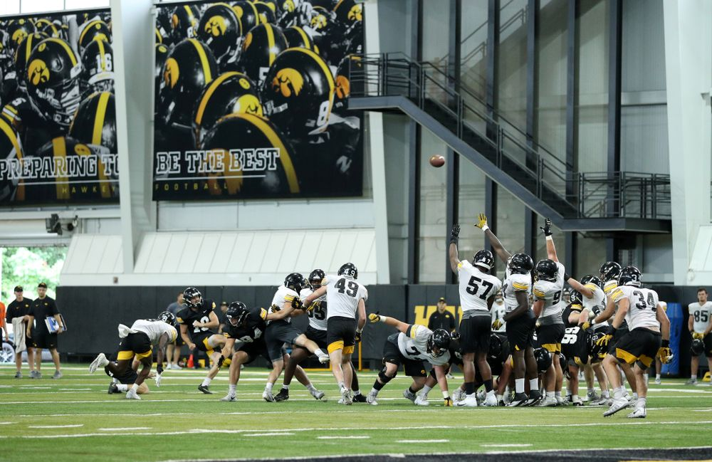Iowa Hawkeyes place kicker Caleb Shudak (10) during Fall Camp Practice No. 16 Tuesday, August 20, 2019 at the Ronald D. and Margaret L. Kenyon Football Practice Facility. (Brian Ray/hawkeyesports.com)