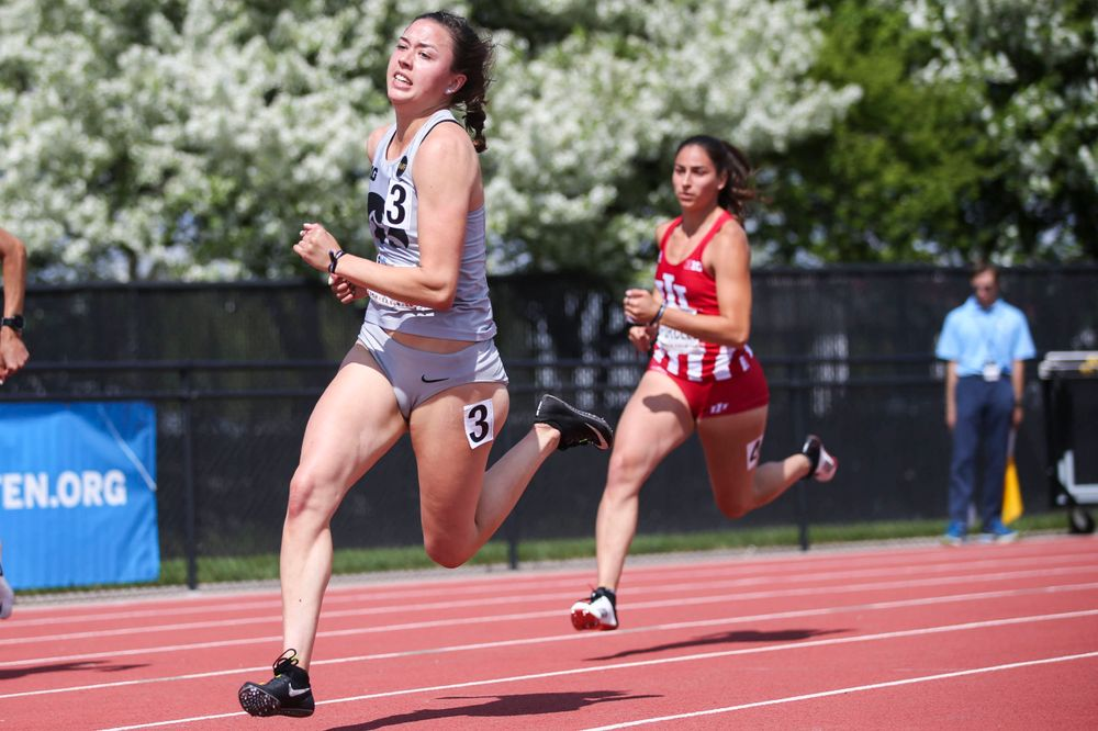 Iowa's Jenny Kimbro runs during the women's 200-meter dash at the Big Ten Outdoor Track and Field Championships at Francis X. Cretzmeyer Track on Friday, May 10, 2019. (Lily Smith/hawkeyesports.com)