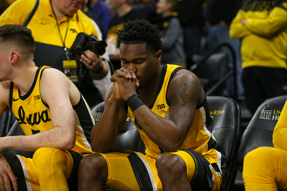 Iowa Hawkeyes guard Joe Toussaint (1) sits before introductions during the Iowa men's basketball game vs Rutgers on Wednesday, January 22, 2020 at Carver-Hawkeye Arena. (Lily Smith/hawkeyesports.com)