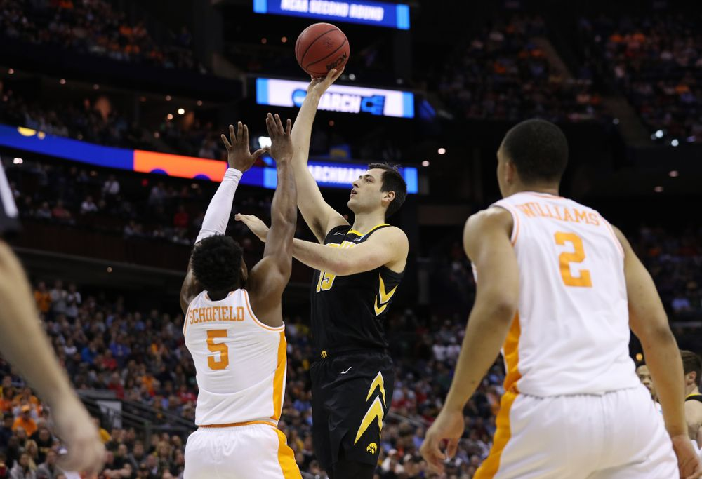 Iowa Hawkeyes forward Ryan Kriener (15) against the Tennessee Volunteers in the second round of the 2019 NCAA Men's Basketball Tournament Sunday, March 24, 2019 at Nationwide Arena in Columbus, Ohio. (Brian Ray/hawkeyesports.com)