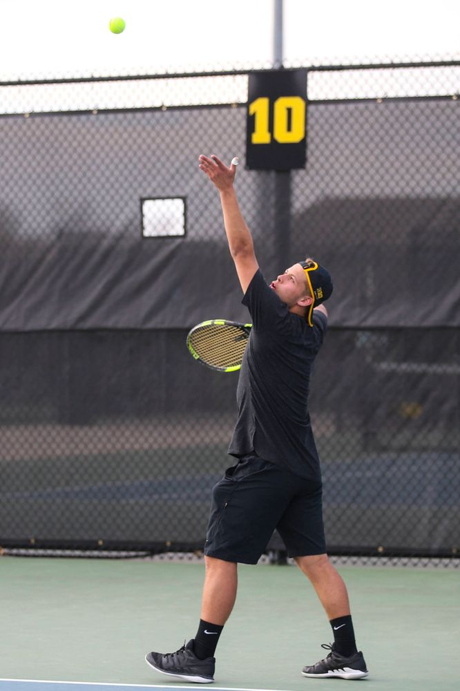 IowaÕs Will Davies at tennis vs Illinois State on Sunday, April 21, 2019 at the Hawkeye Tennis and Recreation Complex. (Lily Smith/hawkeyesports.com)