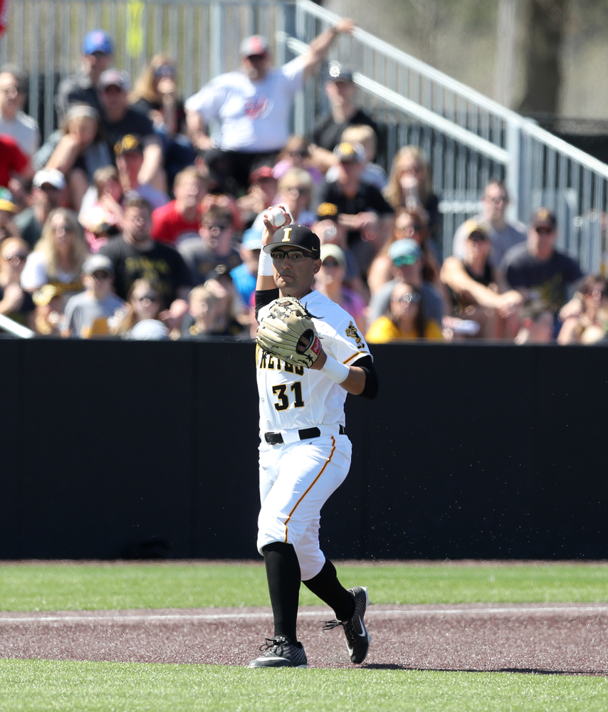 Iowa Hawkeyes infielder Matthew Sosa (31) against the Nebraska Cornhuskers Saturday, April 20, 2019 at Duane Banks Field. (Brian Ray/hawkeyesports.com)