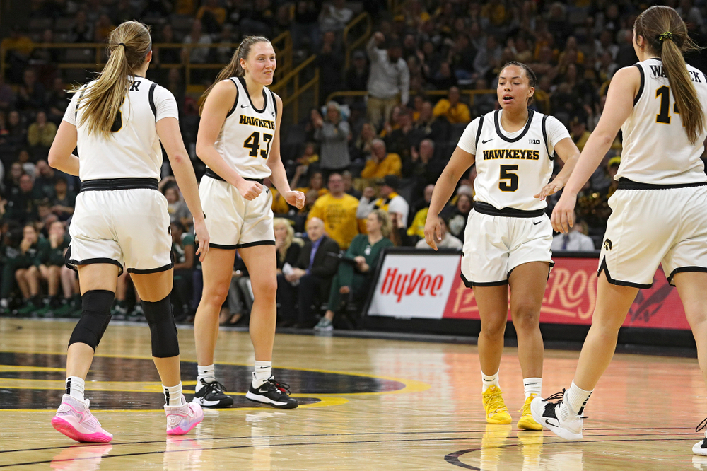 Iowa Hawkeyes forward Amanda Ollinger (43) dances after making a basket while being fouled during the fourth quarter of their game at Carver-Hawkeye Arena in Iowa City on Sunday, January 26, 2020. (Stephen Mally/hawkeyesports.com)