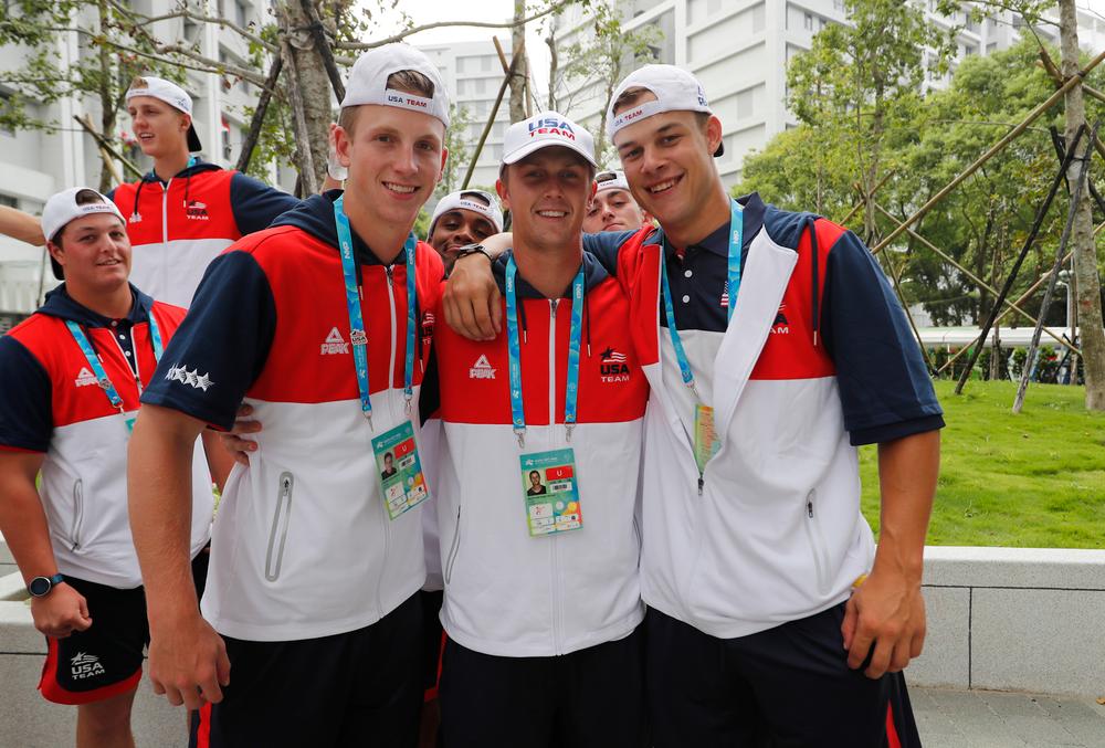 Shane Ritter (18), Robert Neustrom (44), and Kyle Shimp (45)