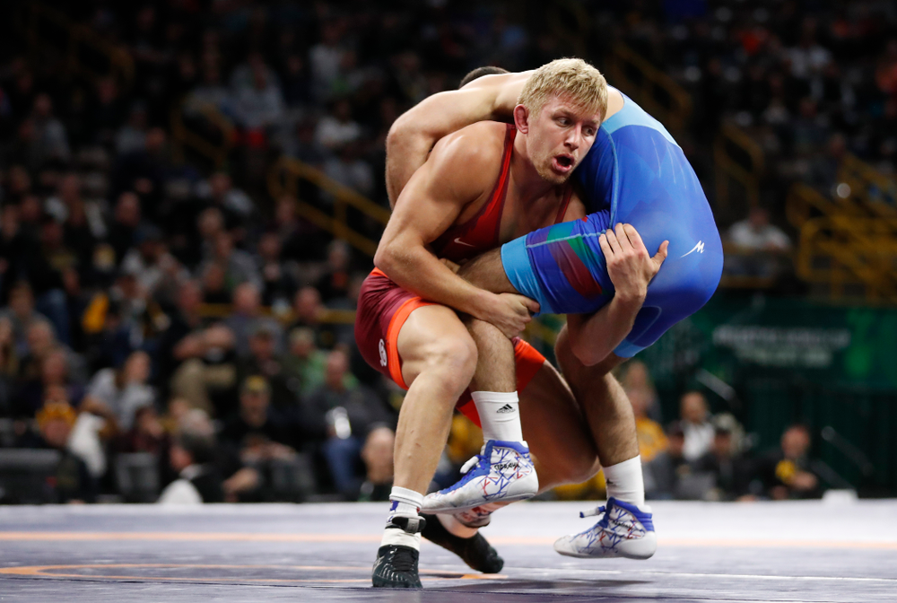 Kyle Dake during the gold medal match of the United World Wrestling Freestyle World Cup against Azerbaijan Sunday, April 8, 2018 at Carver-Hawkeye Arena. (Brian Ray/hawkeyesports.com)