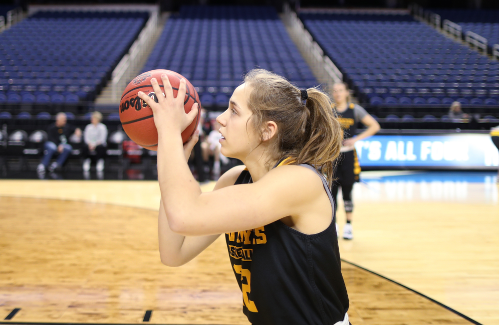 Iowa Hawkeyes guard Kathleen Doyle (22) during media and practice as they prepare for their Sweet 16 matchup against NC State Friday, March 29, 2019 at the Greensboro Coliseum in Greensboro, NC.(Brian Ray/hawkeyesports.com)