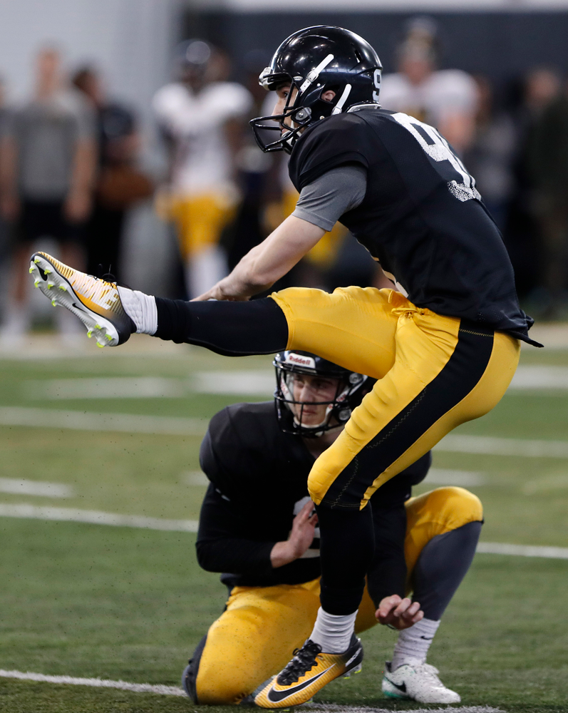 Miguel Recinos -- University of Iowa spring football practice No. 6 on March 31, 2018, in Iowa City, Iowa. (Darren Miller/hawkeyesports.com)