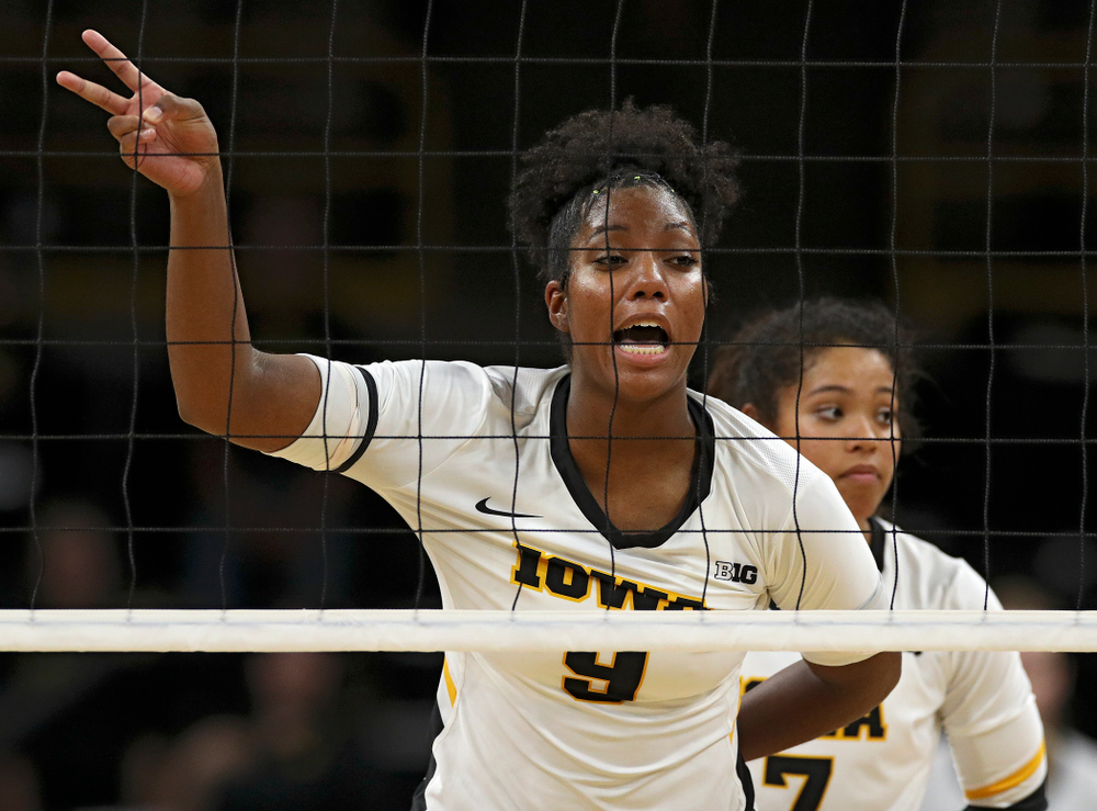 Iowa's Amiya Jones (9) shouts to her teammates before a serve during the second set of their Big Ten/Pac-12 Challenge match against Colorado at Carver-Hawkeye Arena in Iowa City on Friday, Sep 6, 2019. (Stephen Mally/hawkeyesports.com)