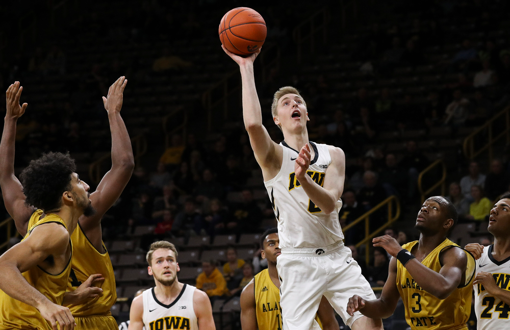 Iowa Hawkeyes forward Michael Baer (0) puts up a shot during a game against Alabama State at Carver-Hawkeye Arena on November 21, 2018. (Tork Mason/hawkeyesports.com)