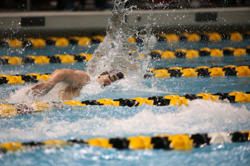 Iowa's Aleksey Tarasenko at the 200-yard freestyle race  Friday, March 1, 2019 at the Campus Recreation and Wellness Center. (Lily Smith/hawkeyesports.com)