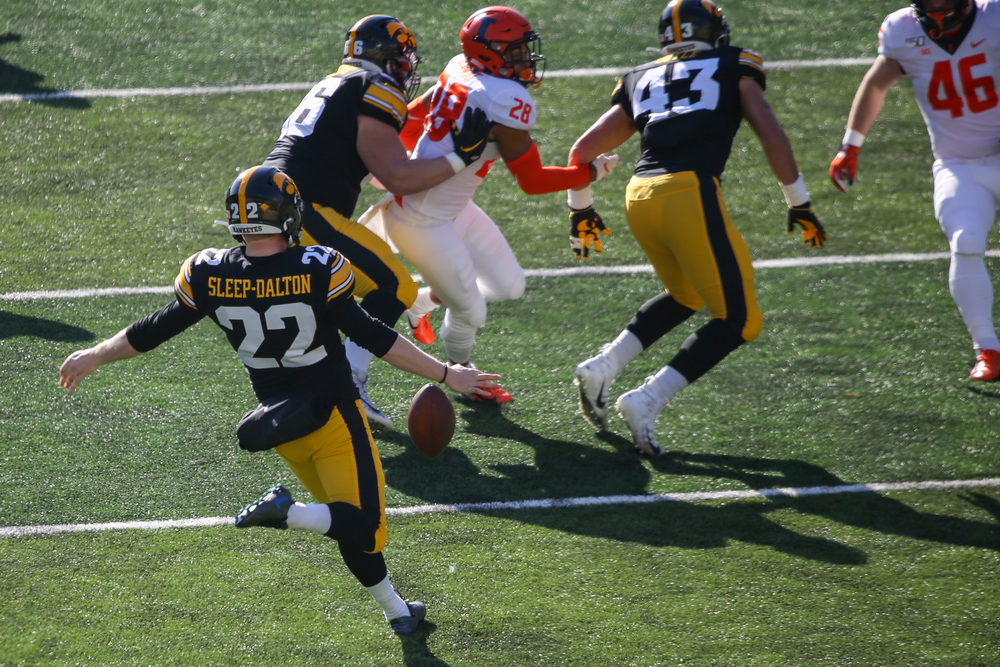 Iowa Hawkeyes punter Michael Sleep-Dalton (22) during Iowa football vs Illinois on Saturday, November 23, 2019 at Kinnick Stadium. (Lily Smith/hawkeyesports.com)