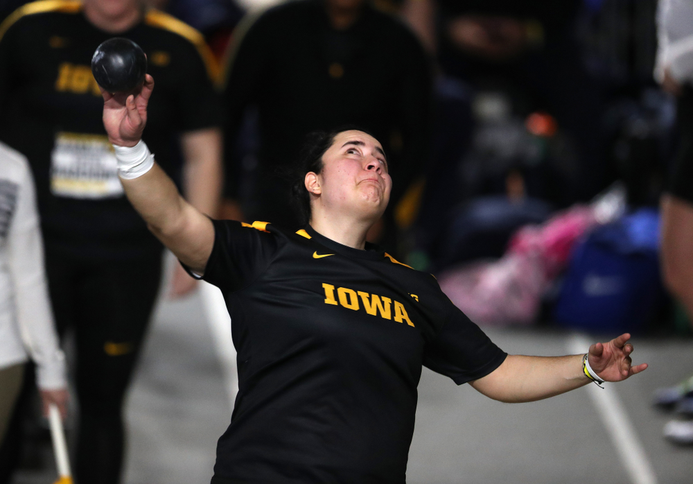 Iowa's Konstadina Spanoudakis competes in the Shot Put during the Black and Gold Premier meet Saturday, January 26, 2019 at the Recreation Building. (Brian Ray/hawkeyesports.com)