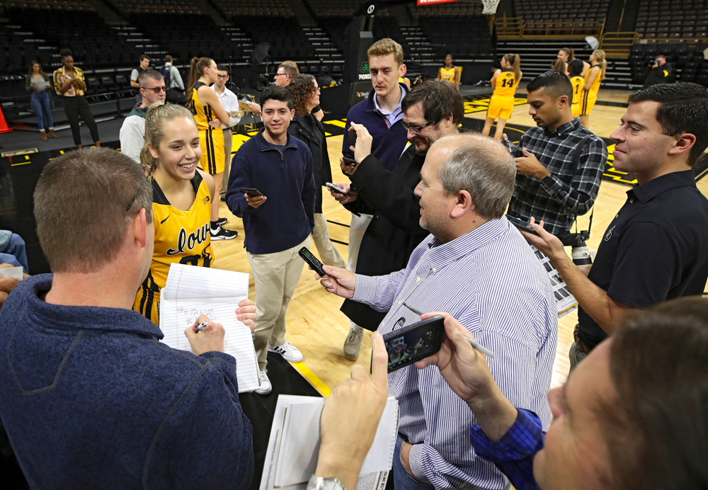 Iowa guard Kathleen Doyle (22) answers questions during Iowa Women's Basketball Media Day at Carver-Hawkeye Arena in Iowa City on Thursday, Oct 24, 2019. (Stephen Mally/hawkeyesports.com)