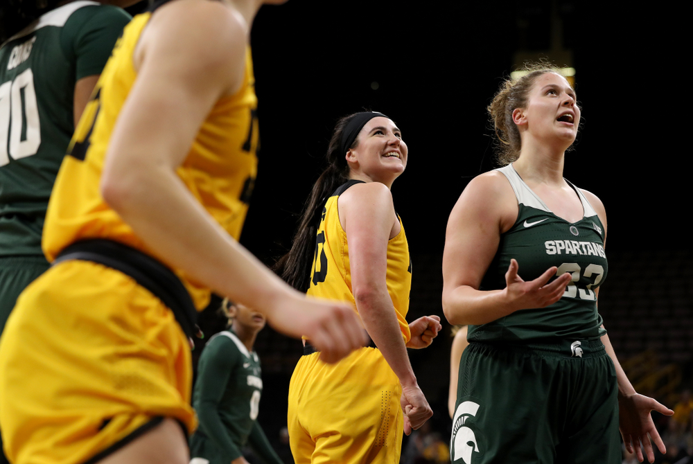 Iowa Hawkeyes forward Megan Gustafson (10) pumps her fist after making a basket and drawing a foul against the Michigan State Spartans Thursday, February 7, 2019 at Carver-Hawkeye Arena. (Brian Ray/hawkeyesports.com)