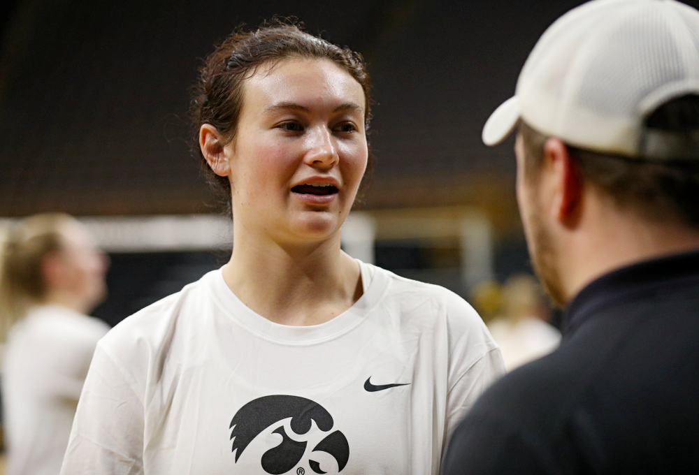 Iowa's Halle Johnston (4) answers questions during Iowa Volleyball's Media Day at Carver-Hawkeye Arena in Iowa City on Friday, Aug 23, 2019. (Stephen Mally/hawkeyesports.com)