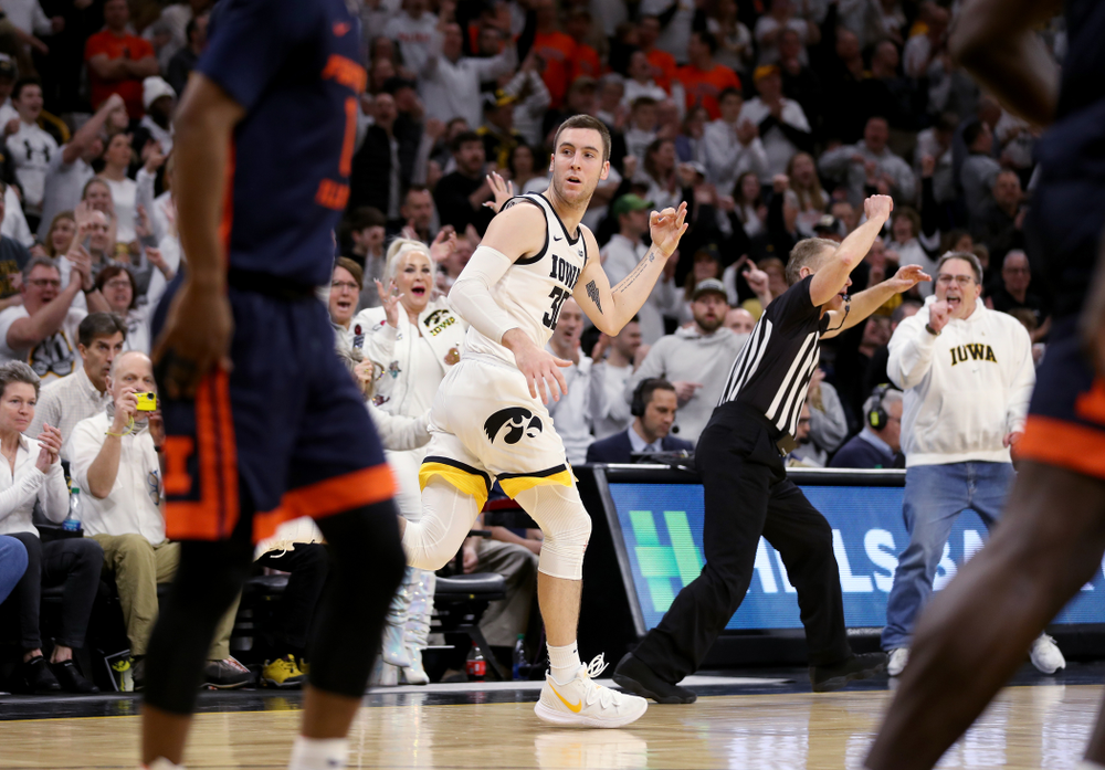 Iowa Hawkeyes guard Connor McCaffery (30) knocks down a three point basket against the Illinois Fighting Illini Sunday, February 2, 2020 at Carver-Hawkeye Arena. (Brian Ray/hawkeyesports.com)