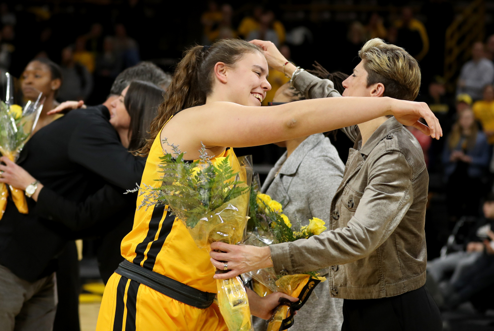 Iowa Hawkeyes forwar/center Paula Valiño Ramos (31) during senior day activities following their win over the Minnesota Golden Gophers Thursday, February 27, 2020 at Carver-Hawkeye Arena. (Brian Ray/hawkeyesports.com)