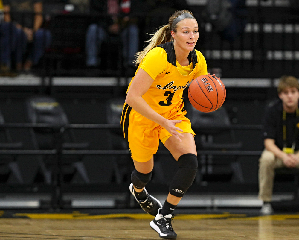 Iowa guard Makenzie Meyer (3) brings the ball down court during the first quarter of their game against Winona State at Carver-Hawkeye Arena in Iowa City on Sunday, Nov 3, 2019. (Stephen Mally/hawkeyesports.com)
