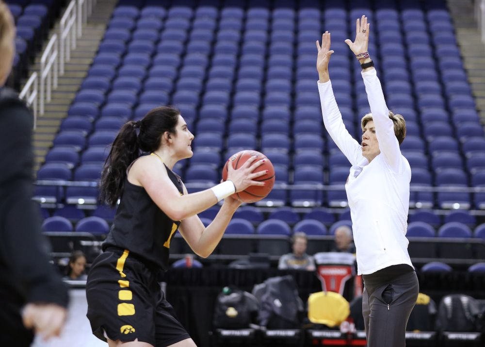 Iowa Hawkeyes forward Megan Gustafson (10) and associate head coach Jan Jensen during practice and media before the regional final of the 2019 NCAA Women's College Basketball Tournament against the Baylor Bears Sunday, March 31, 2019 at Greensboro Coliseum in Greensboro, NC.(Brian Ray/hawkeyesports.com)
