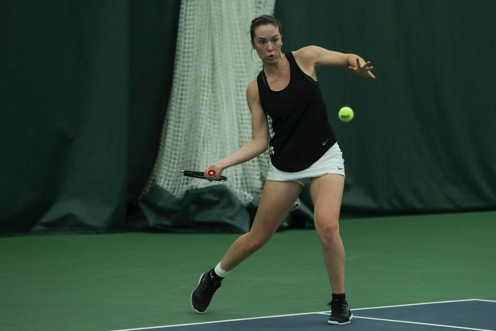 Iowa's Samantha Mannix returns a hit during the Iowa women's tennis meet vs DePaul  on Friday, February 21, 2020 at the Hawkeye Tennis and Recreation Complex. (Lily Smith/hawkeyesports.com)