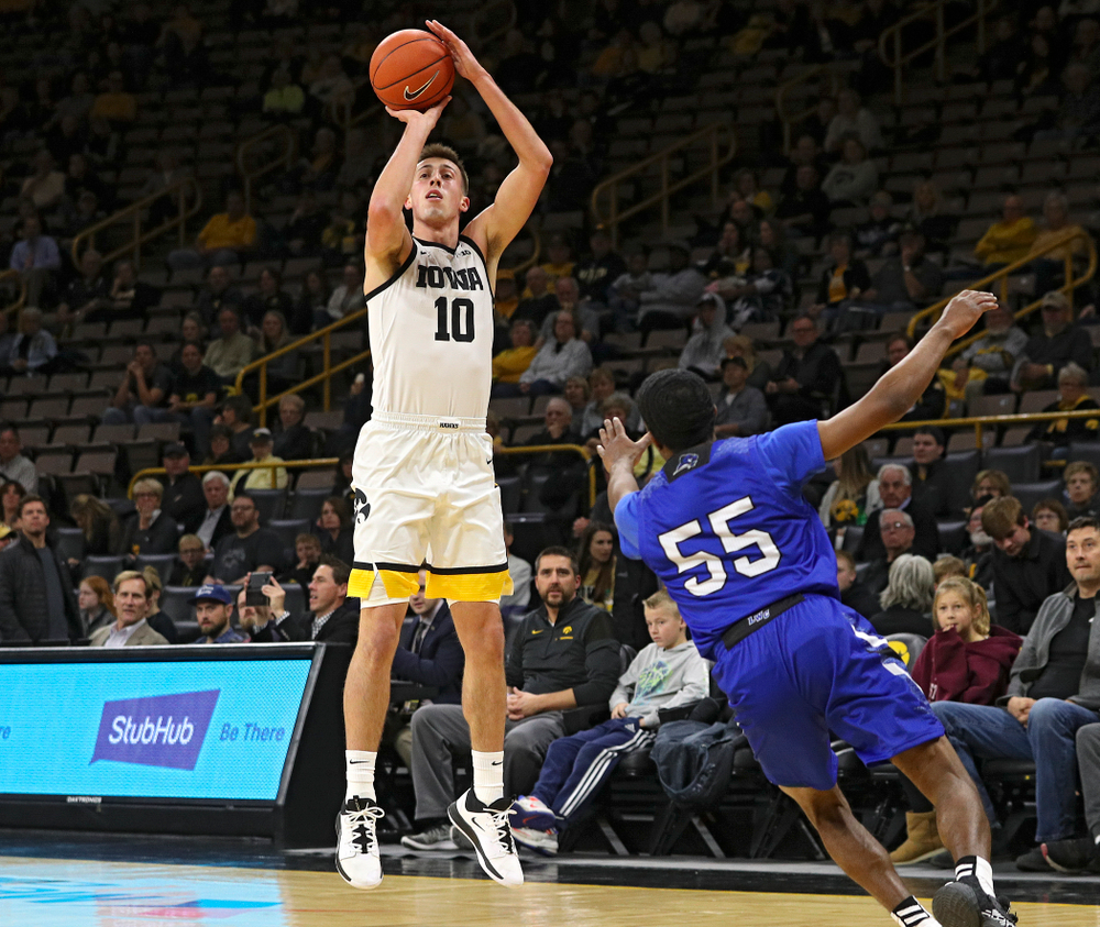 Iowa Hawkeyes guard Joe Wieskamp (10) makes a basket during the first half of their exhibition game against Lindsey Wilson College at Carver-Hawkeye Arena in Iowa City on Monday, Nov 4, 2019. (Stephen Mally/hawkeyesports.com)