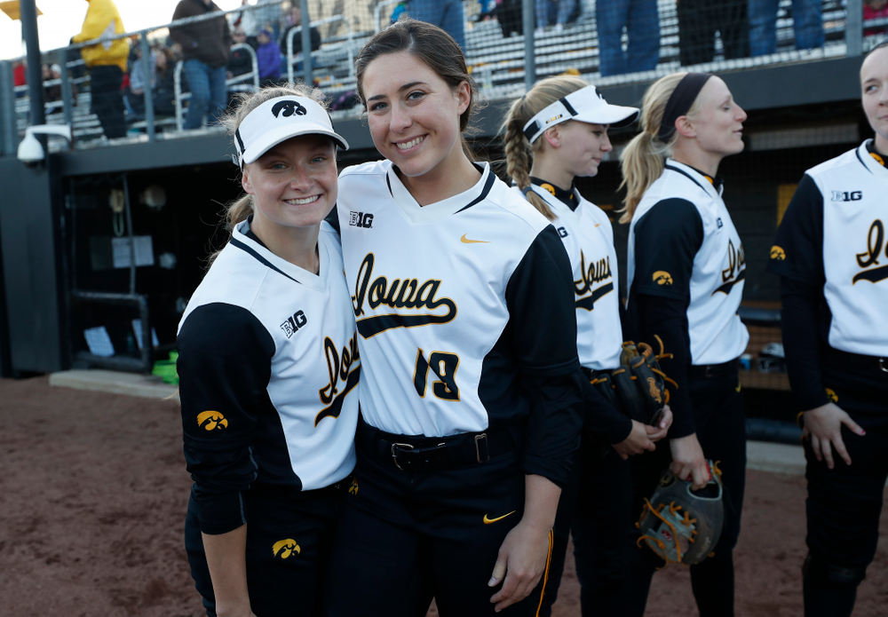 Iowa Hawkeyes outfielder Cheyenne Pratt (27), catcher Elizabeth DeShields (19) against Western Illinois Tuesday, April 17, 2018 at Bob Pearl Field. (Brian Ray/hawkeyesports.com)