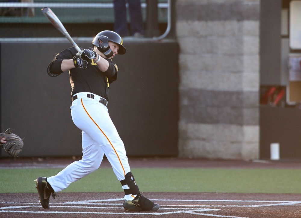 Iowa right fielder Zeb Adreon (5) drives a pitch for a hit during the third inning of their game at Duane Banks Field in Iowa City on Tuesday, March 3, 2020. (Stephen Mally/hawkeyesports.com)