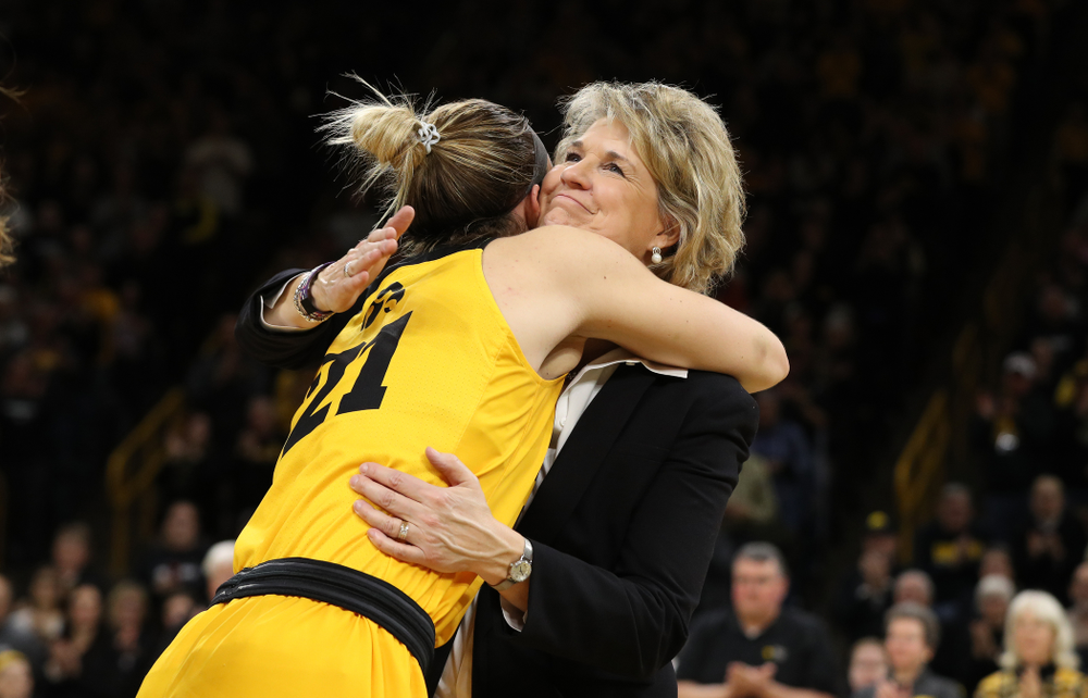 Iowa Hawkeyes head coach Lisa Bluder during senior day ceremonies following their game against the Northwestern Wildcats Sunday, March 3, 2019 at Carver-Hawkeye Arena. (Brian Ray/hawkeyesports.com)