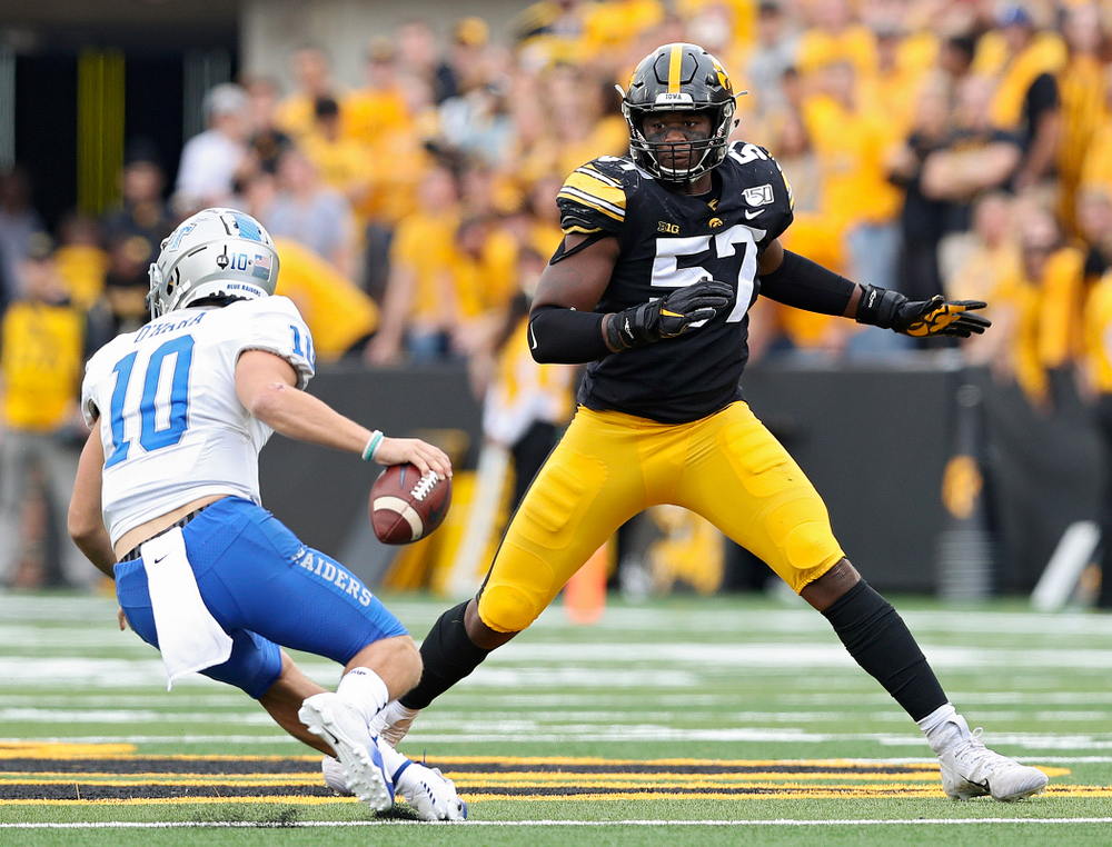 Iowa Hawkeyes defensive end Chauncey Golston (57) closes in during third quarter of their game at Kinnick Stadium in Iowa City on Saturday, Sep 28, 2019. (Stephen Mally/hawkeyesports.com)