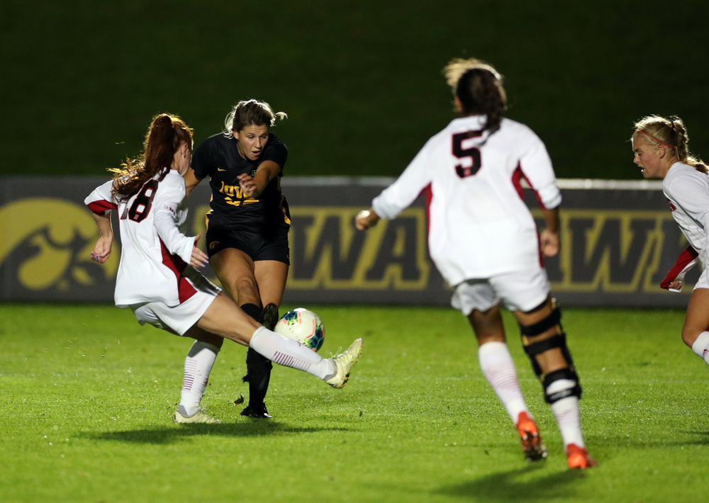 Iowa Hawkeyes forward Gianna Gourley (32) scores against the Nebraska Cornhuskers Thursday, October 3, 2019 at the Iowa Soccer Complex. (Brian Ray/hawkeyesports.com)