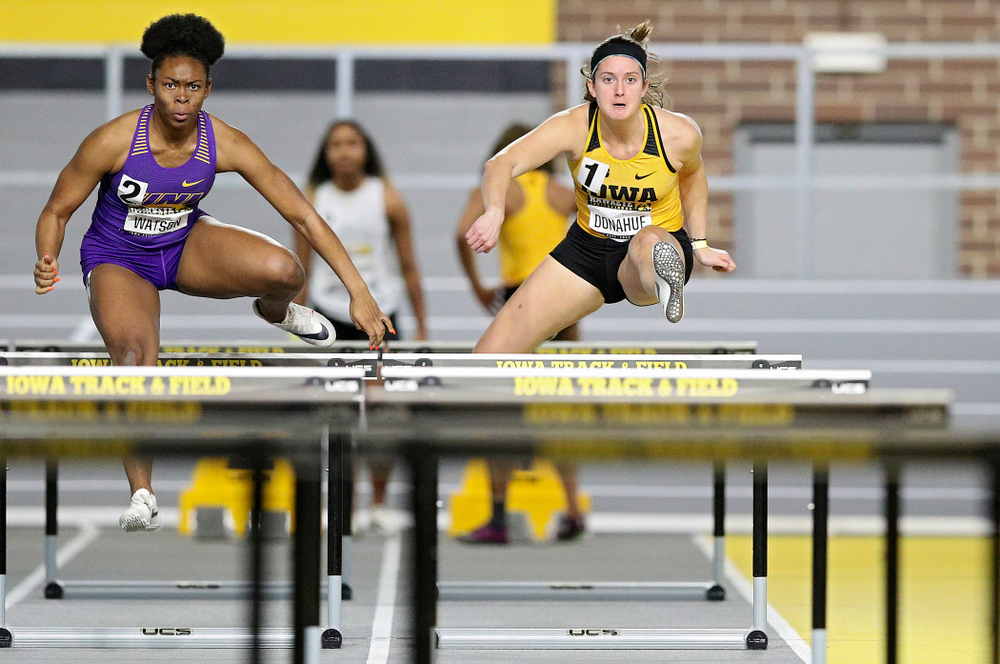 Iowa's Carly Donahue runs in the women's 60 meter hurdles prelim event during the Hawkeye Invitational at the Recreation Building in Iowa City on Saturday, January 11, 2020. (Stephen Mally/hawkeyesports.com)