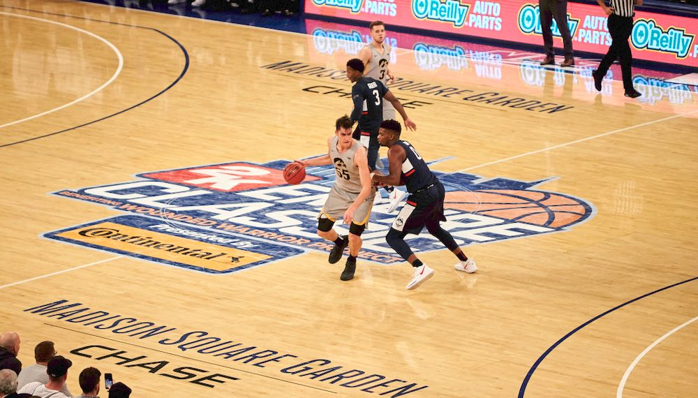 Iowa Hawkeyes forward Luka Garza (55) against UConn in the Championship game of the 2K Empire Classic Friday, November 16, 2018 at Madison Square Garden in New York City. (Duncan H.Williams/Freelance)