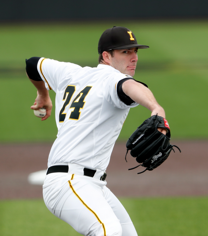 Iowa Hawkeyes pitcher Nick Allgeyer (24) during a double header against the Indiana Hoosiers Friday, March 23, 2018 at Duane Banks Field. (Brian Ray/hawkeyesports.com)