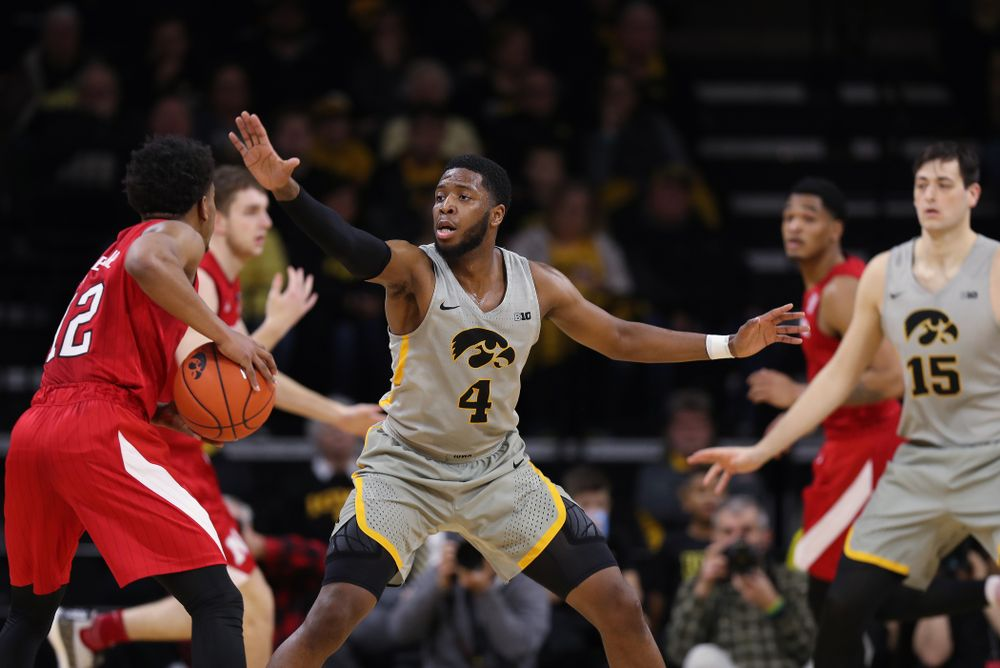Iowa Hawkeyes guard Isaiah Moss (4) against the Nebraska Cornhuskers Sunday, January 6, 2019 at Carver-Hawkeye Arena. (Brian Ray/hawkeyesports.com)