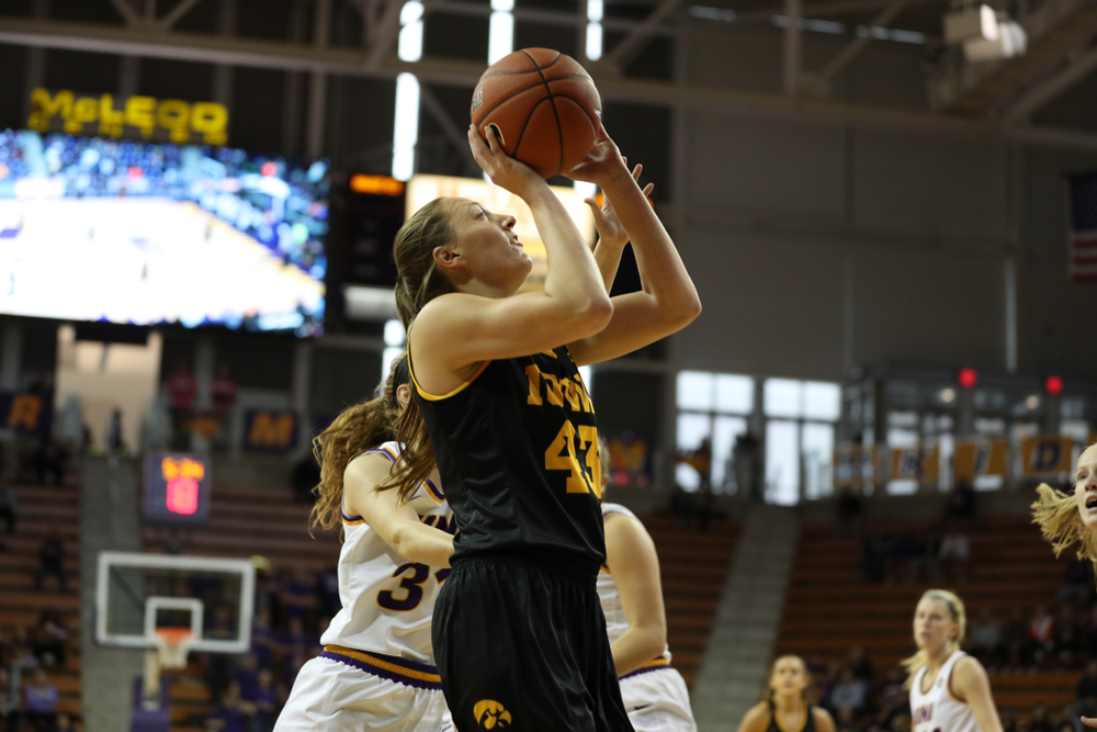 Iowa Hawkeyes forward Amanda Ollinger (43) against Northern Iowa Sunday, November 17, 2019 at the McLeod Center. (Brian Ray/hawkeyesports.com)
