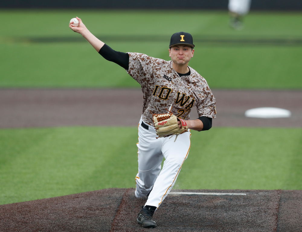 Iowa Hawkeyes pitcher Brady Schanuel (27) during a double header against the Indiana Hoosiers Friday, March 23, 2018 at Duane Banks Field. (Brian Ray/hawkeyesports.com)