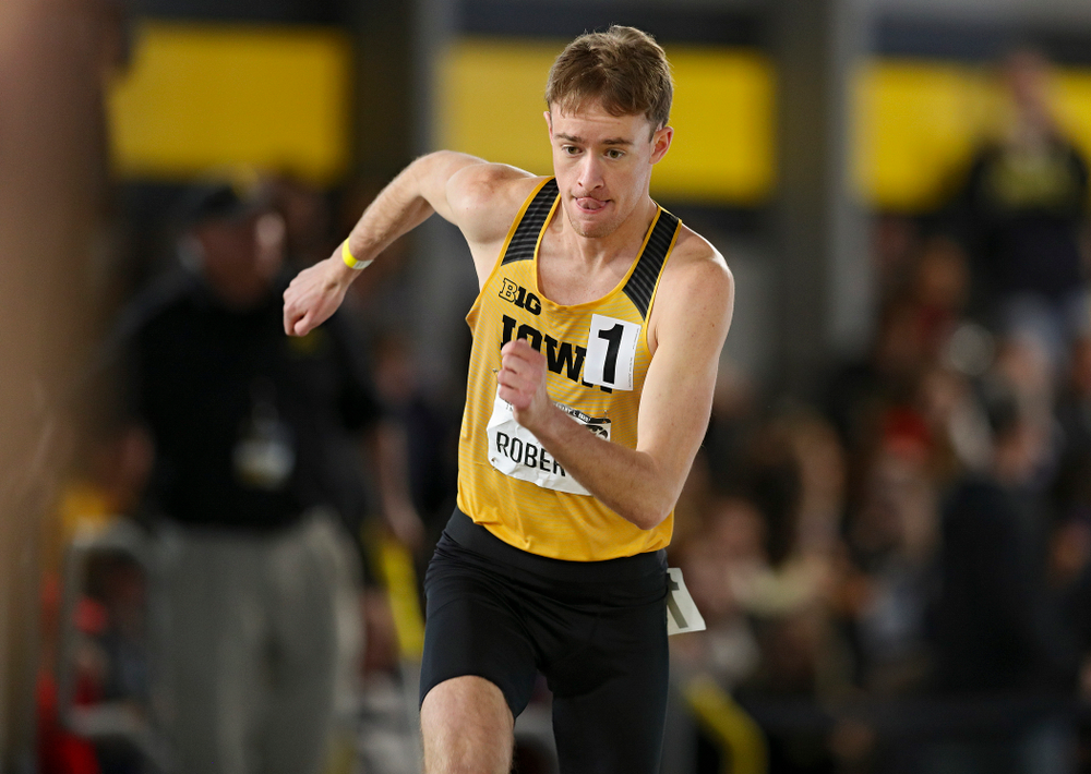Iowa's Jeff Roberts runs the men's 800 meter run event at the Black and Gold Invite at the Recreation Building in Iowa City on Saturday, February 1, 2020. (Stephen Mally/hawkeyesports.com)