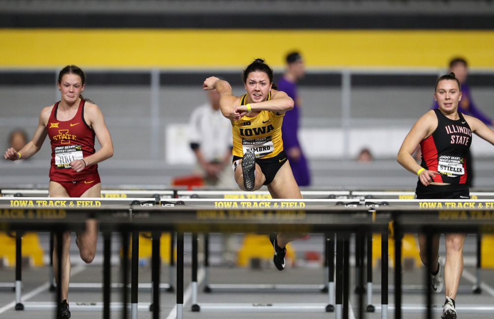 Iowa's Jenny Kimbro wins the 60-meter hurdles during the Jimmy Grant Invitational Saturday, December 8, 2018 at the Recreation Building. (Brian Ray/hawkeyesports.com)