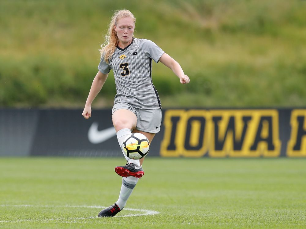 Iowa Hawkeyes Morgan Kemmerling (3) against Indiana State Sunday, August 26, 2018 at the Iowa Soccer Complex. (Brian Ray/hawkeyesports.com)