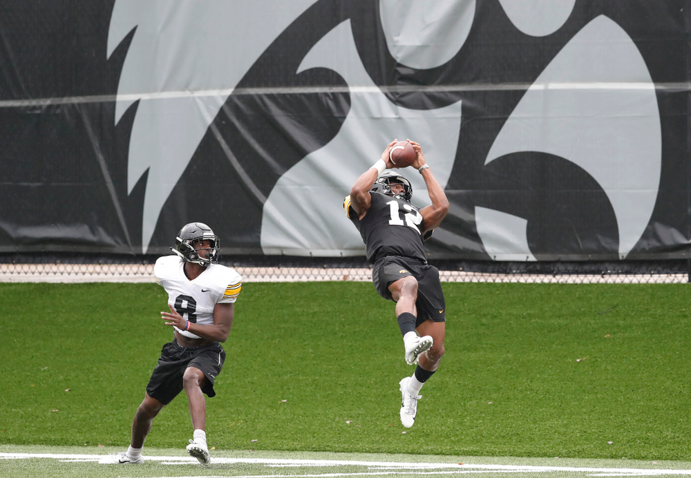 Iowa Hawkeyes wide receiver Brandon Smith (12) during camp practice No. 15  Monday, August 20, 2018 at the Hansen Football Performance Center. (Brian Ray/hawkeyesports.com)