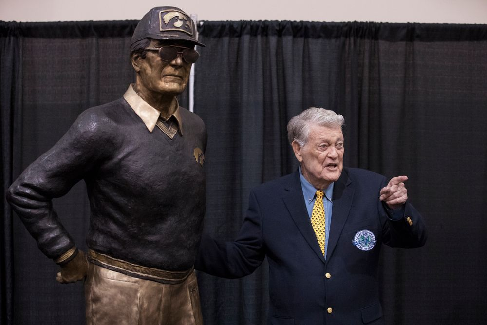 Legendary Hawkeye Football Coach Hayden Fry following the unveiling of his statue during Fry Fest Friday, September 2, 2016 at the Coralville Marriott Hotel and Conference Center. (Brian Ray/hawkeyesports.com)