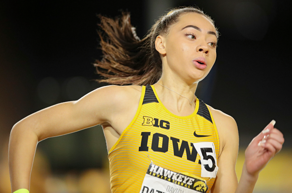 Iowa's Davicia Patterson runs the women's 1600 meter relay event during the Hawkeye Invitational at the Recreation Building in Iowa City on Saturday, January 11, 2020. (Stephen Mally/hawkeyesports.com)