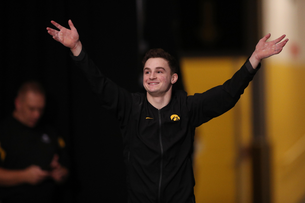 Iowa's Jake Brodarzon is introduced before their meet against Oklahoma Saturday, February 9, 2019 at Carver-Hawkeye Arena. (Brian Ray/hawkeyesports.com)