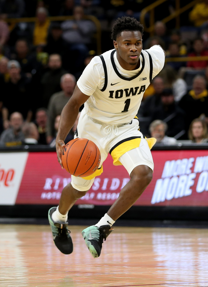 Iowa Hawkeyes guard Joe Toussaint (1) against the Maryland Terrapins Friday, January 10, 2020 at Carver-Hawkeye Arena. (Brian Ray/hawkeyesports.com)